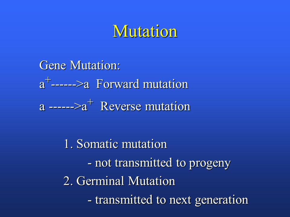 Mutation Gene Mutation: a + ------>a Forward mutation a ------>a + Reverse mutation 1. Somatic mutation - not transmitted to progeny - not transmitted