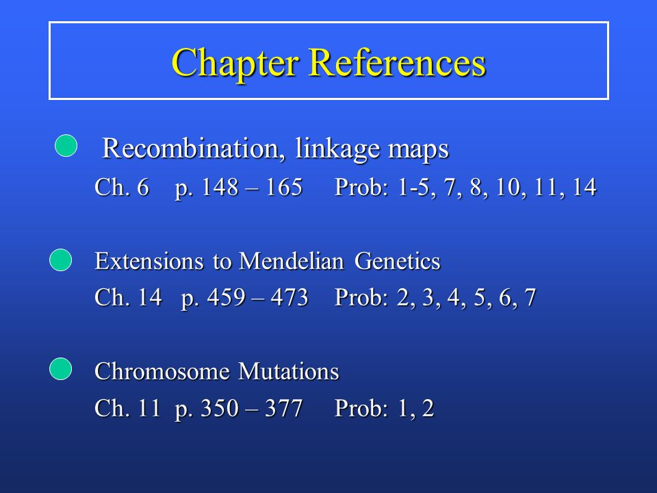 Chapter References Recombination, linkage maps Recombination, linkage maps Ch.