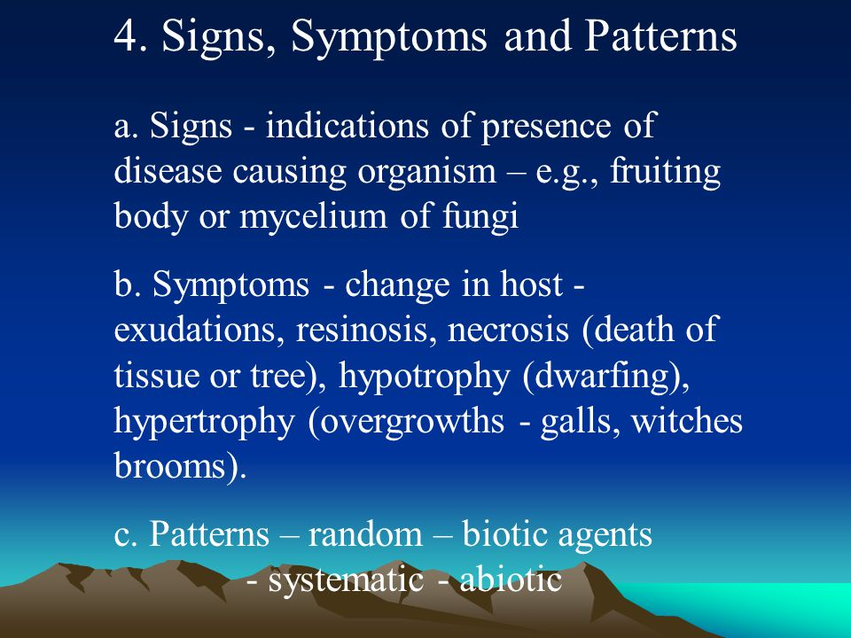 4. Signs, Symptoms and Patterns a.
