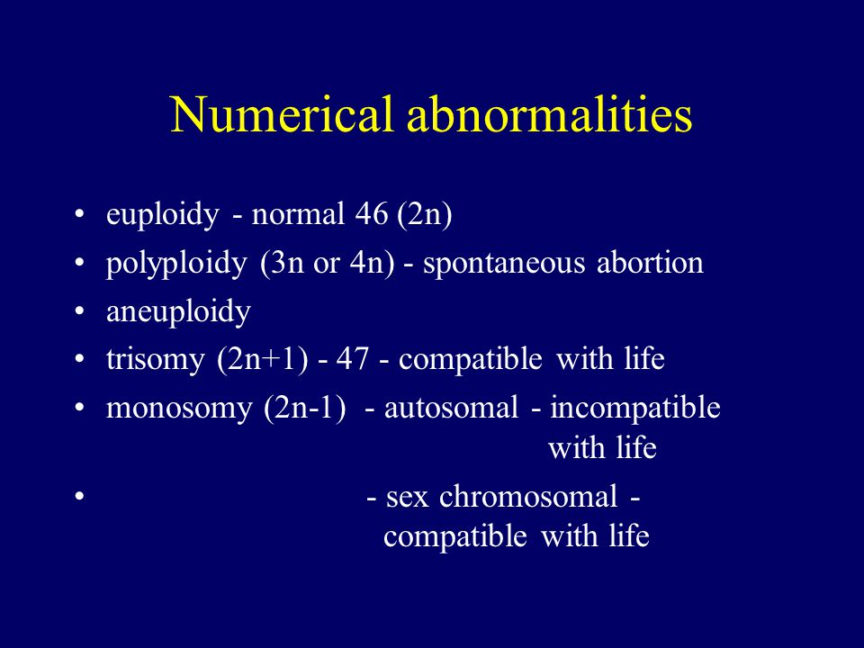 Numerical abnormalities euploidy - normal 46 (2n) polyploidy (3n or 4n) - spontaneous abortion aneuploidy trisomy (2n+1) - 47 - compatible with life monosomy (2n-1) - autosomal - incompatible with life - sex chromosomal - compatible with life