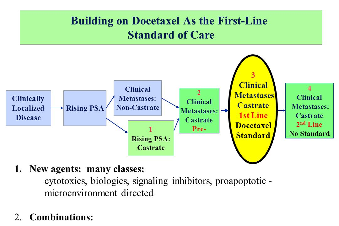 Building on Docetaxel As the First-Line Standard of Care Rising PSA Clinically Localized Disease 1 Rising PSA: Castrate Clinical Metastases: Non-Castr