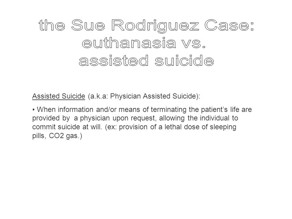 Assisted Suicide (a.k.a: Physician Assisted Suicide): When information and/or means of terminating the patient's life are provided by a physician upon