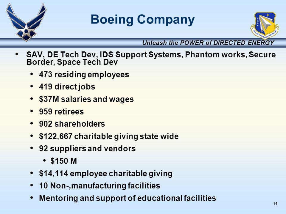 14 Unleash the POWER of DIRECTED ENERGY Boeing Company SAV, DE Tech Dev, IDS Support Systems, Phantom works, Secure Border, Space Tech Dev 473 residin