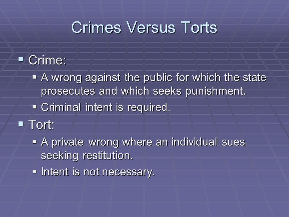 Crimes Versus Torts  Crime:  A wrong against the public for which the state prosecutes and which seeks punishment.  Criminal intent is required. 