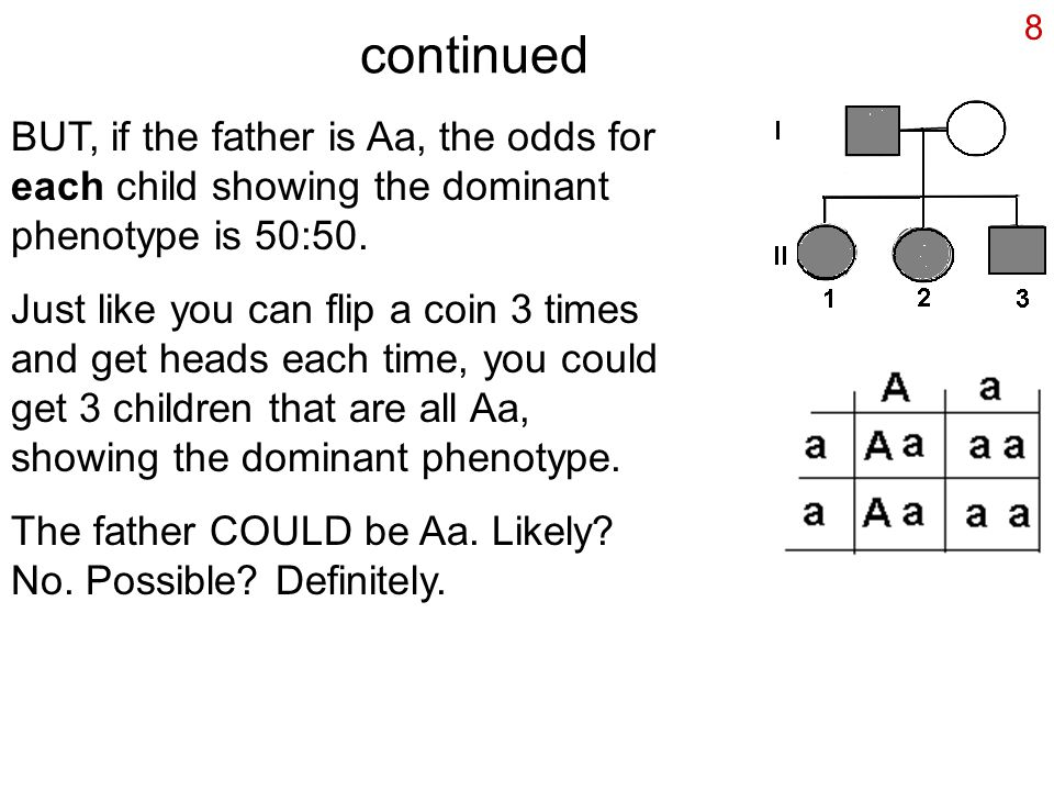 8 continued BUT, if the father is Aa, the odds for each child showing the dominant phenotype is 50:50. Just like you can flip a coin 3 times and get h