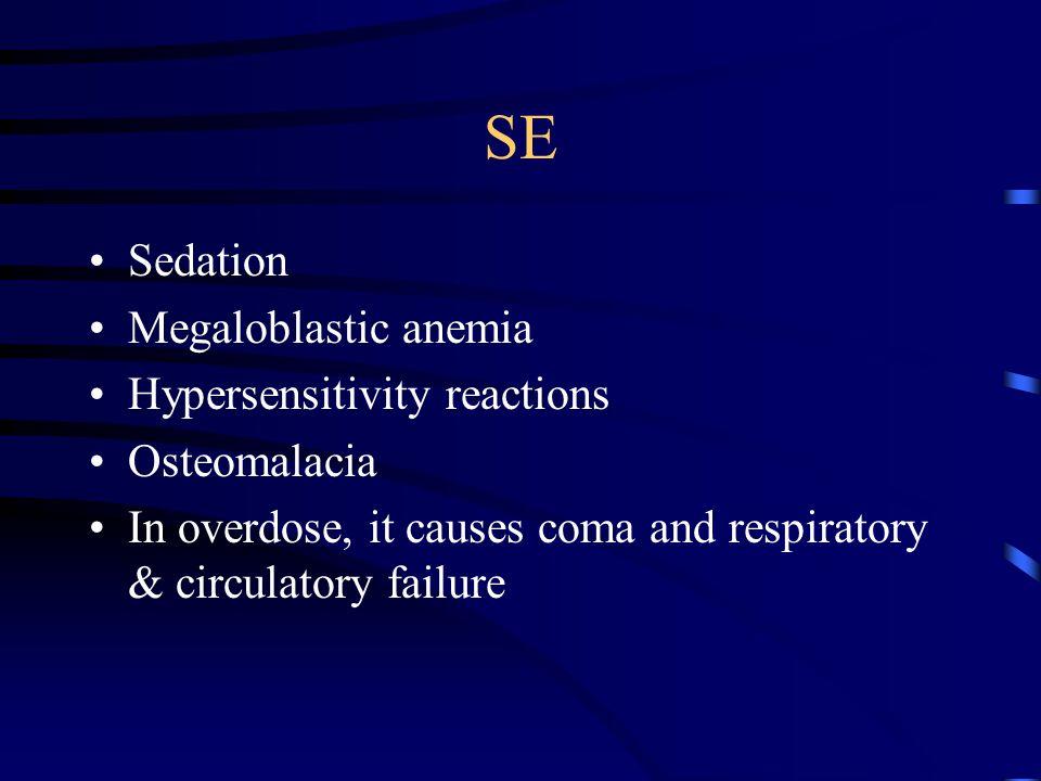 SE Sedation Megaloblastic anemia Hypersensitivity reactions Osteomalacia In overdose, it causes coma and respiratory & circulatory failure