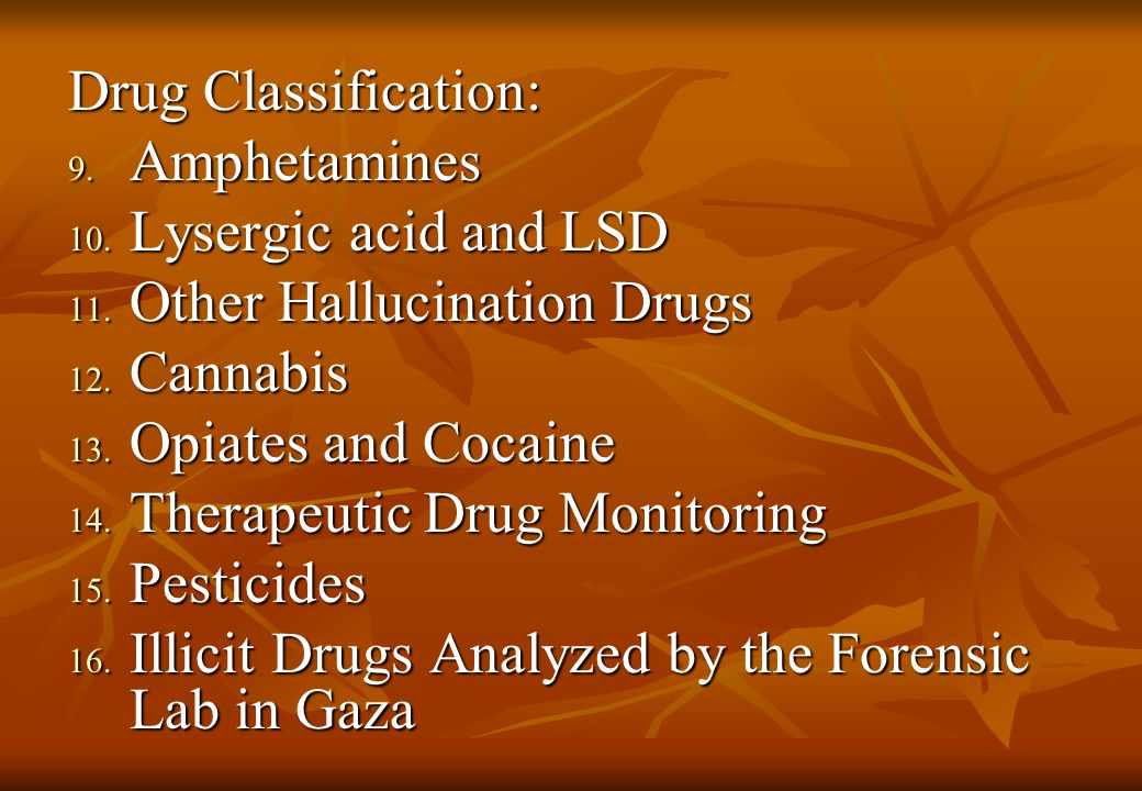Drug Classification: 9. Amphetamines 10. Lysergic acid and LSD 11.