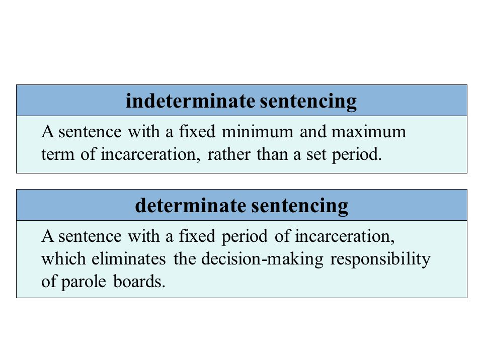 indeterminate sentencing A sentence with a fixed minimum and maximum term of incarceration, rather than a set period. determinate sentencing A sentenc