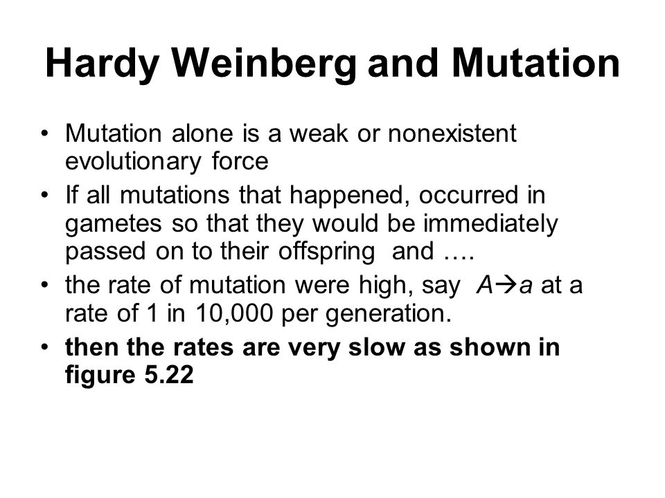 Hardy Weinberg and Mutation Mutation alone is a weak or nonexistent evolutionary force If all mutations that happened, occurred in gametes so that they would be immediately passed on to their offspring and ….