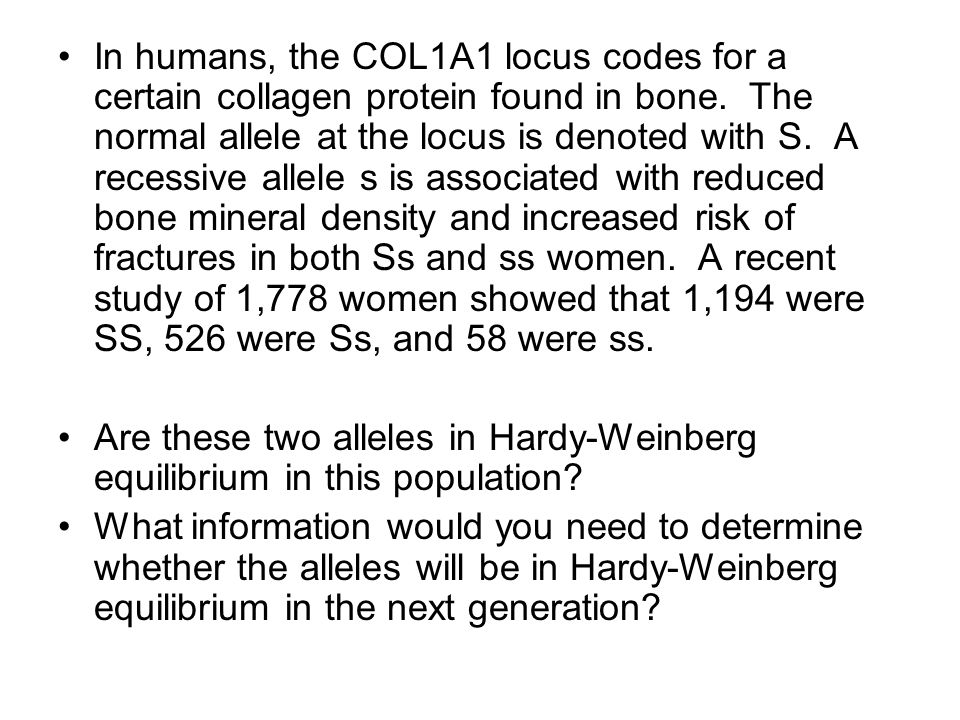 In humans, the COL1A1 locus codes for a certain collagen protein found in bone. The normal allele at the locus is denoted with S. A recessive allele s