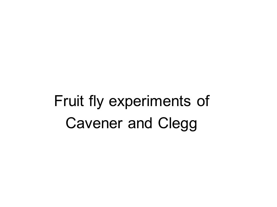 Fruit fly experiments of Cavener and Clegg
