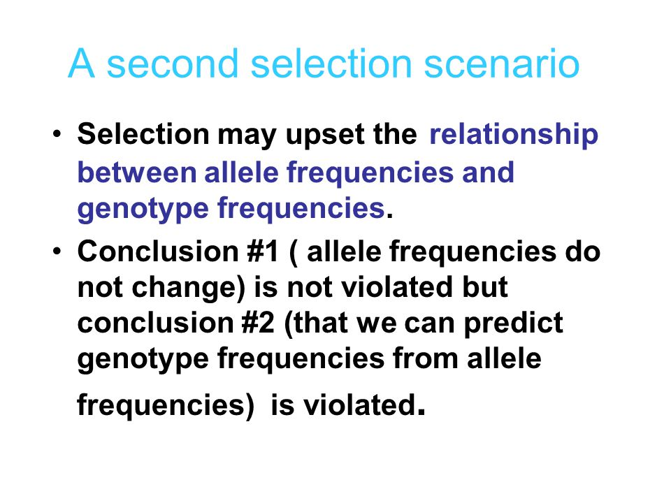 A second selection scenario Selection may upset the relationship between allele frequencies and genotype frequencies. Conclusion #1 ( allele frequenci