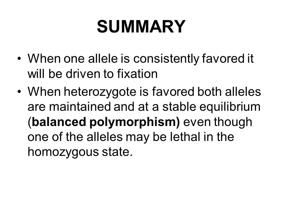 SUMMARY When one allele is consistently favored it will be driven to fixation When heterozygote is favored both alleles are maintained and at a stable equilibrium (balanced polymorphism) even though one of the alleles may be lethal in the homozygous state.