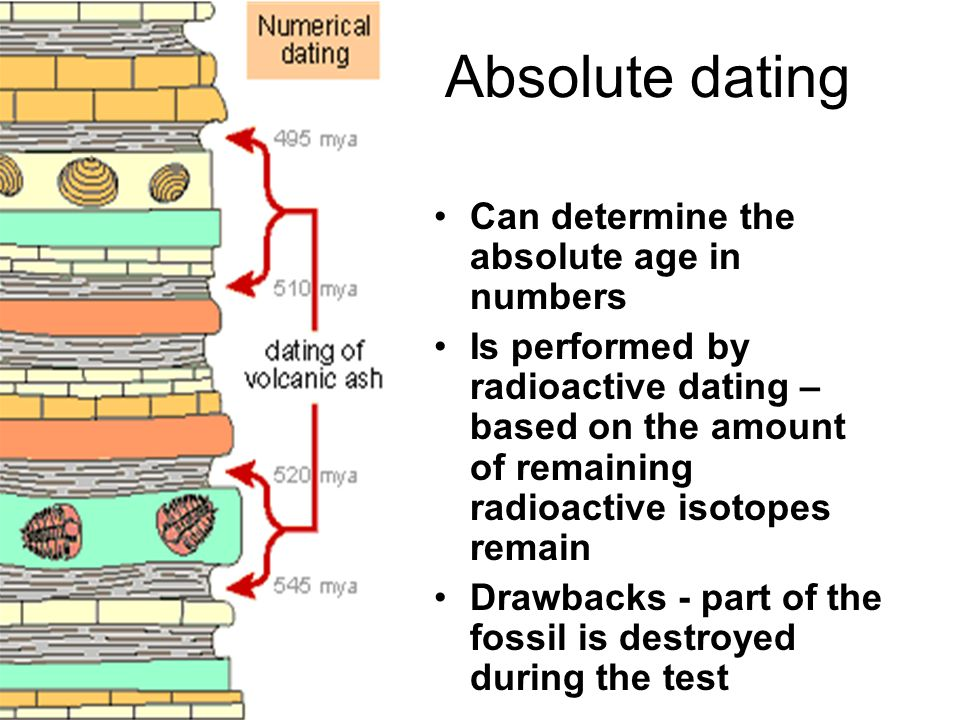 Absolute dating Can determine the absolute age in numbers Is performed by radioactive dating – based on the amount of remaining radioactive isotopes remain Drawbacks - part of the fossil is destroyed during the test