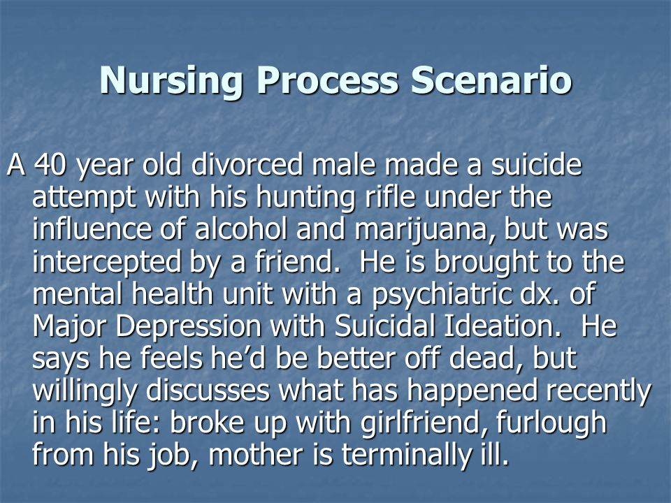 Nursing Process Scenario A 40 year old divorced male made a suicide attempt with his hunting rifle under the influence of alcohol and marijuana, but was intercepted by a friend.