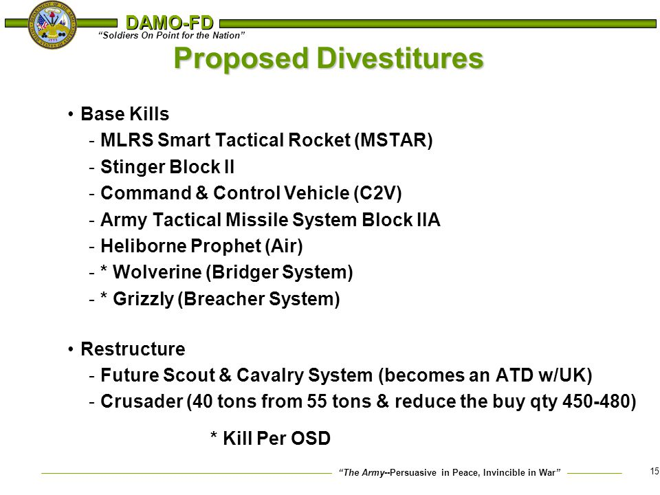 """The Army--Persuasive in Peace, Invincible in War"" ""Soldiers On Point for the Nation"" DAMO-FD 15 Proposed Divestitures Base Kills -MLRS Smart Tactical"