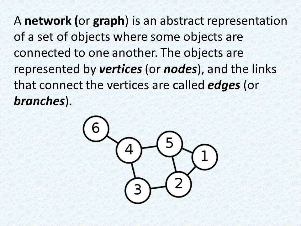 A network (or graph) is an abstract representation of a set of objects where some objects are connected to one another.
