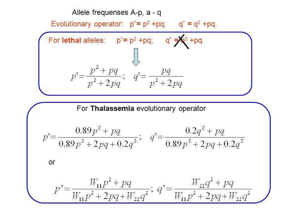 Evolutionary operator: p`= p 2 +pq; q` = q 2 +pq. For lethal alleles: p`= p 2 +pq; q` = q 2 +pq.