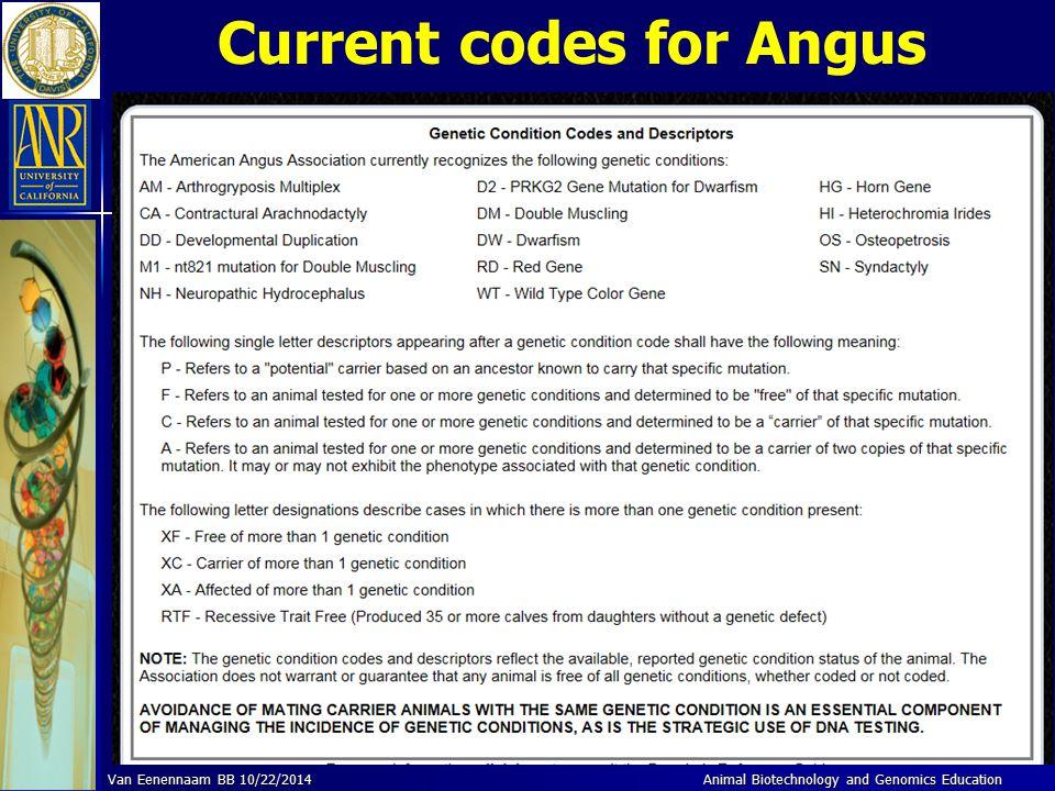 Current codes for Angus Animal Biotechnology and Genomics Education Van Eenennaam BB 10/22/2014