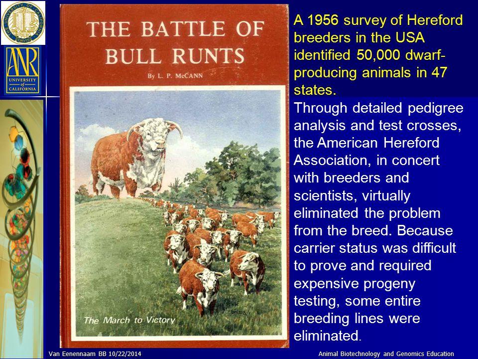 Animal Genomics and Biotechnology Education Van Eenennaam BB 10/22/2014 What did the dairy industry do?