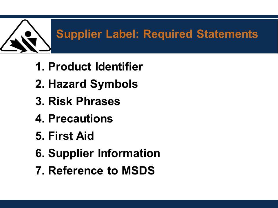 Supplier Label: Required Statements 1. Product Identifier 2. Hazard Symbols 3. Risk Phrases 4. Precautions 5. First Aid 6. Supplier Information 7. Ref