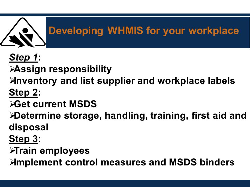 Developing WHMIS for your workplace Step 1:  Assign responsibility  Inventory and list supplier and workplace labels Step 2:  Get current MSDS  De