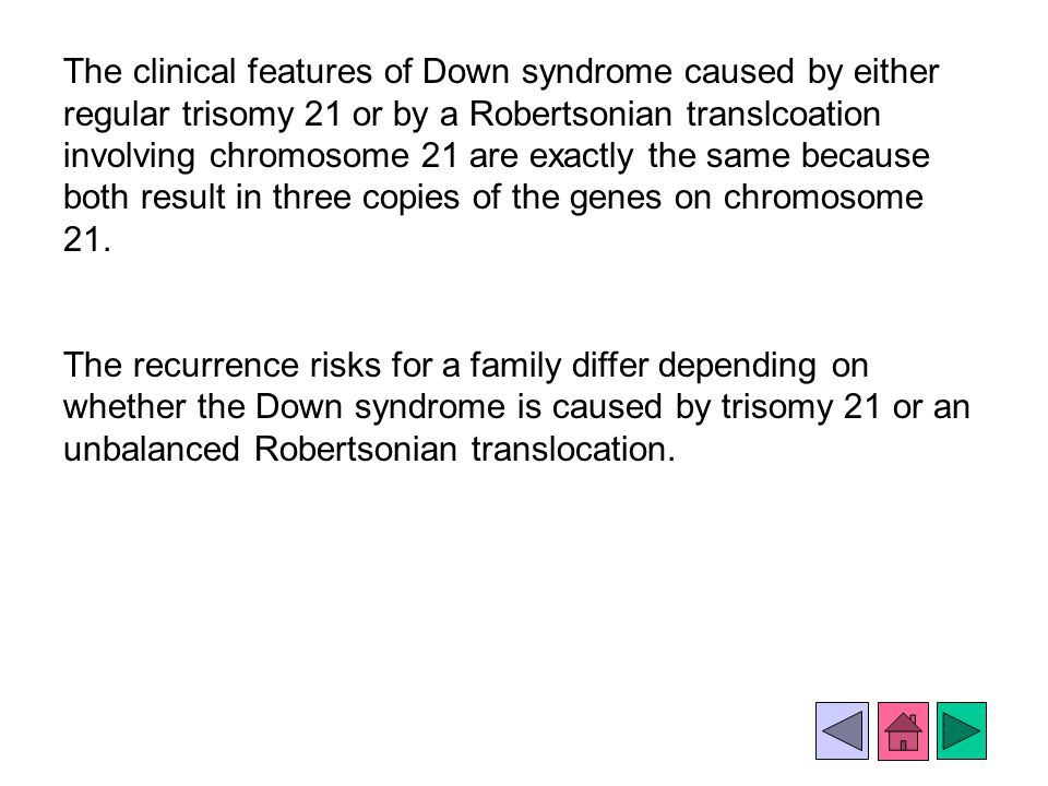 The clinical features of Down syndrome caused by either regular trisomy 21 or by a Robertsonian translcoation involving chromosome 21 are exactly the