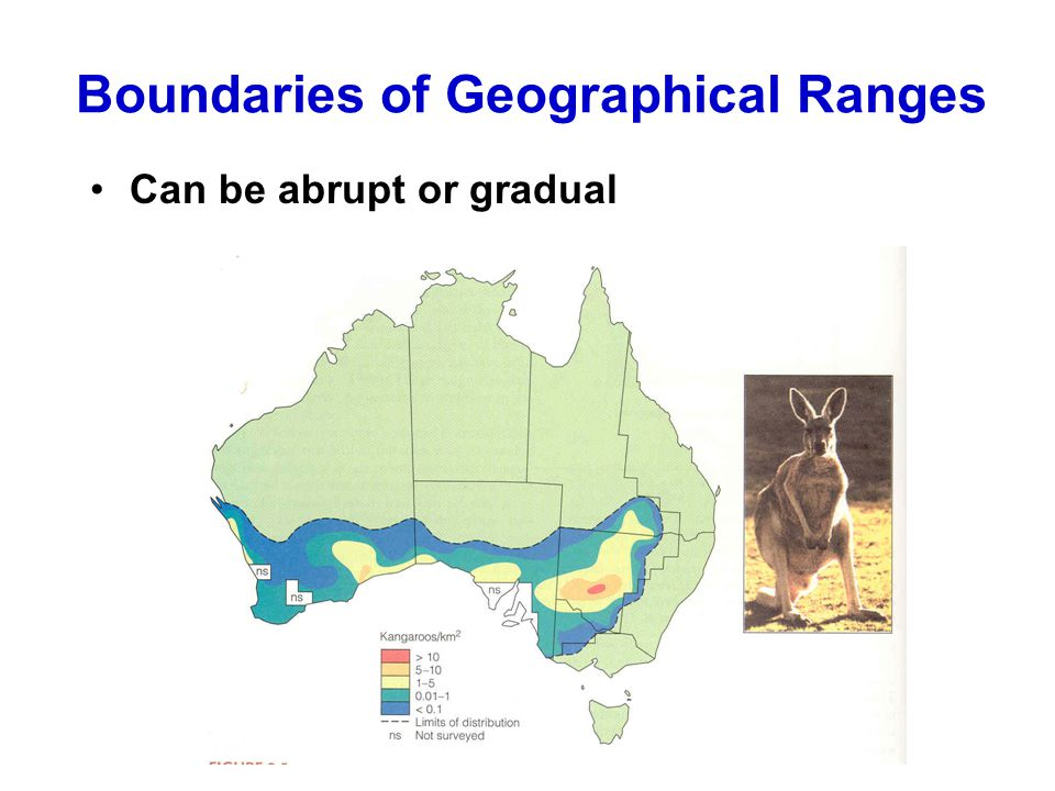 Boundaries of Geographical Ranges Can be abrupt or gradual