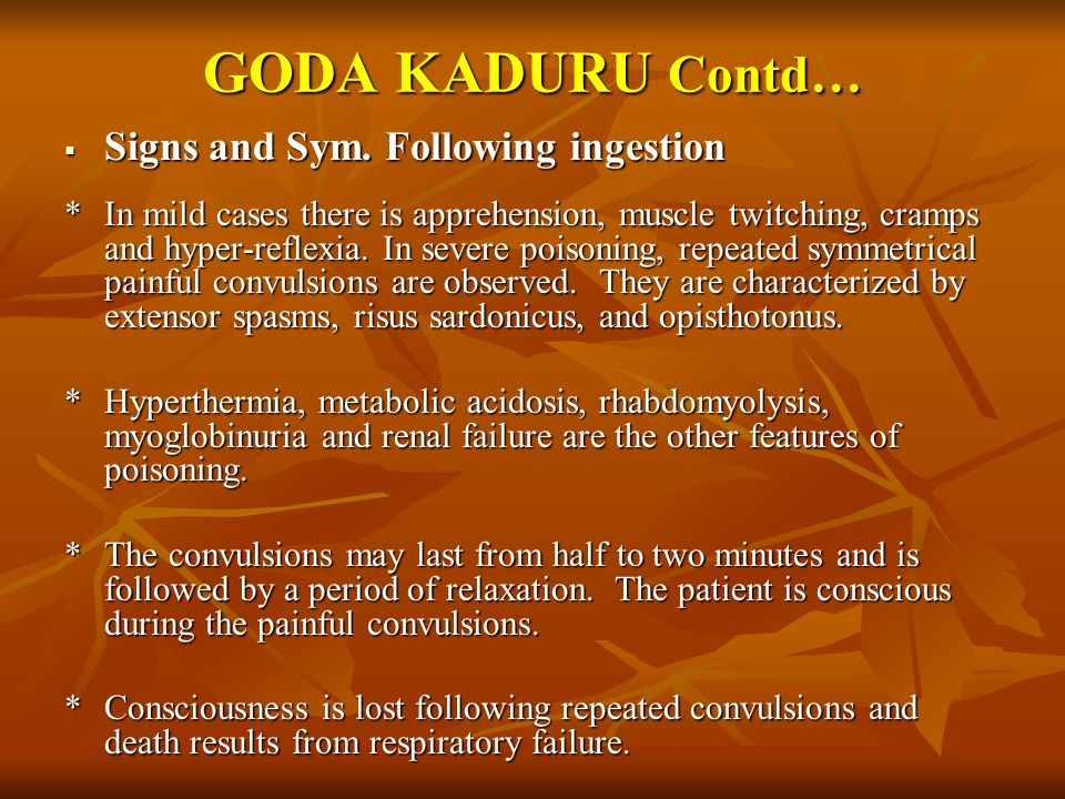 GODA KADURU Contd…  Signs and Sym.