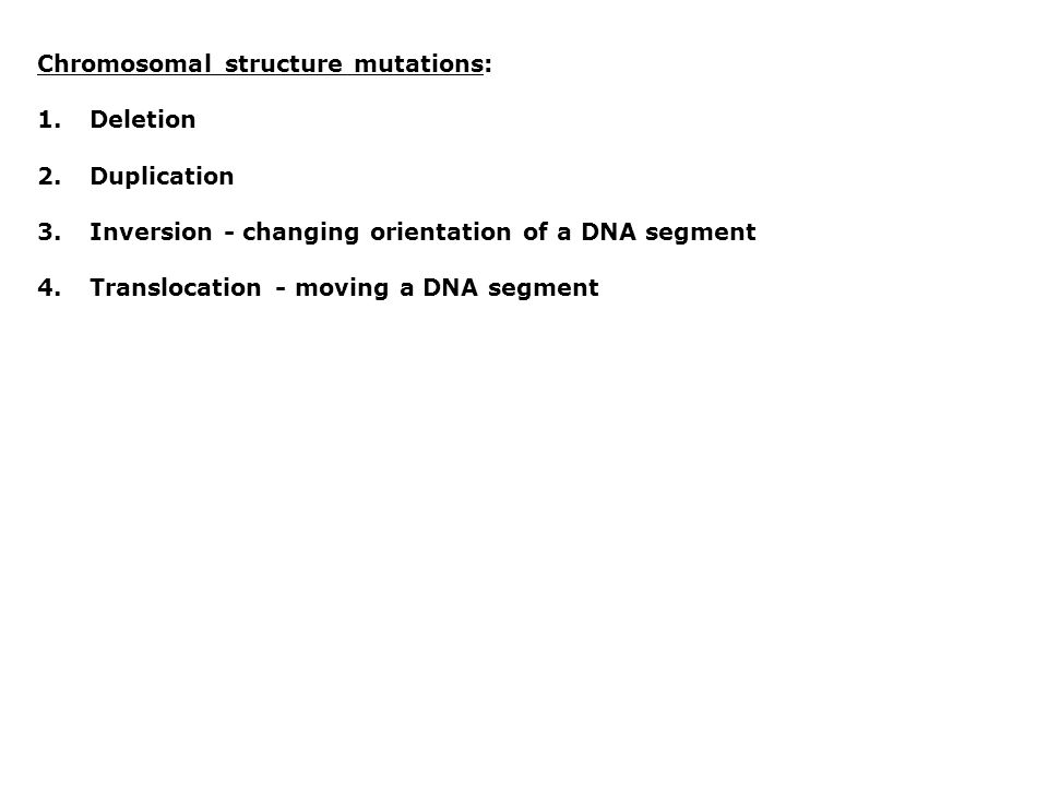 Chromosomal structure mutations: 1.Deletion 2.Duplication 3.Inversion - changing orientation of a DNA segment 4.Translocation - moving a DNA segment