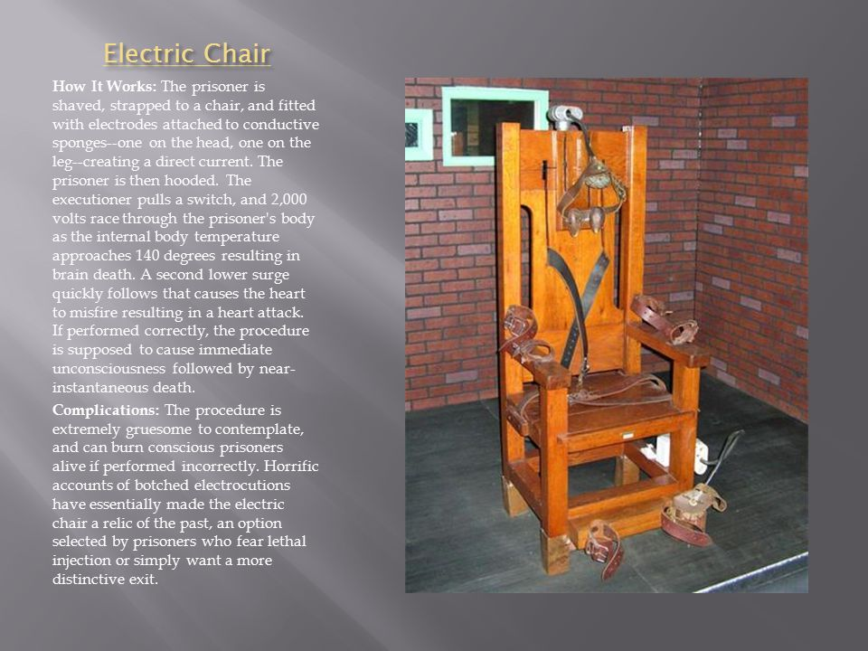 Electric Chair How It Works: The prisoner is shaved, strapped to a chair, and fitted with electrodes attached to conductive sponges--one on the head, one on the leg--creating a direct current.