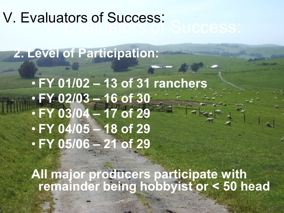 V. Evaluators of Success: 2. Level of Participation: FY 01/02 – 13 of 31 ranchers FY 02/03 – 16 of 30 FY 03/04 – 17 of 29 FY 04/05 – 18 of 29 FY 05/06