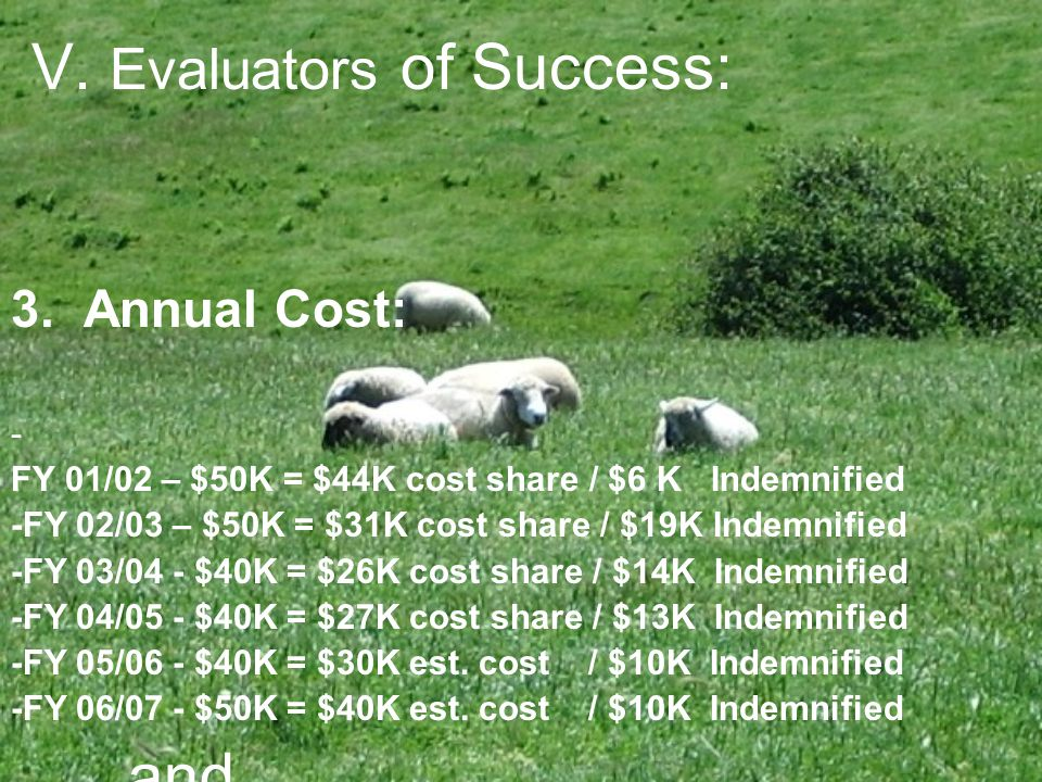 V. Evaluators of Success: 3. Annual Cost: - FY 01/02 – $50K = $44K cost share / $6 K Indemnified -FY 02/03 – $50K = $31K cost share / $19K Indemnified