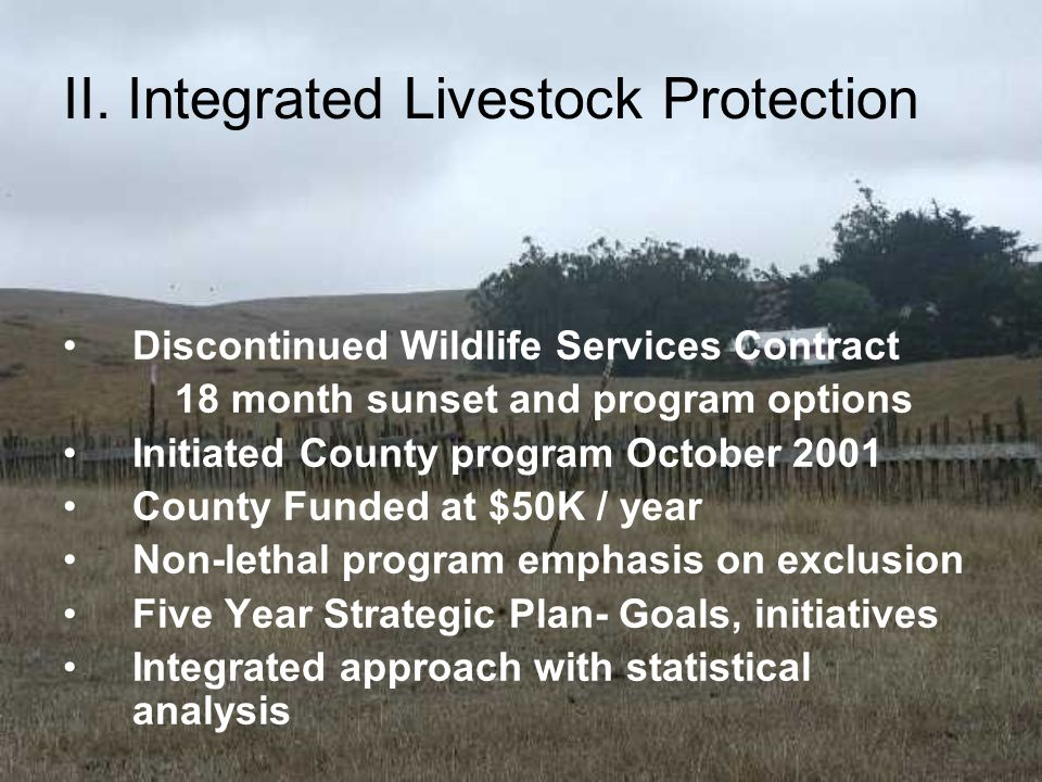 II. Integrated Livestock Protection Discontinued Wildlife Services Contract 18 month sunset and program options Initiated County program October 2001