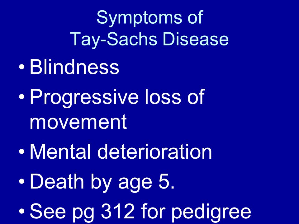 Symptoms of Tay-Sachs Disease Blindness Progressive loss of movement Mental deterioration Death by age 5. See pg 312 for pedigree