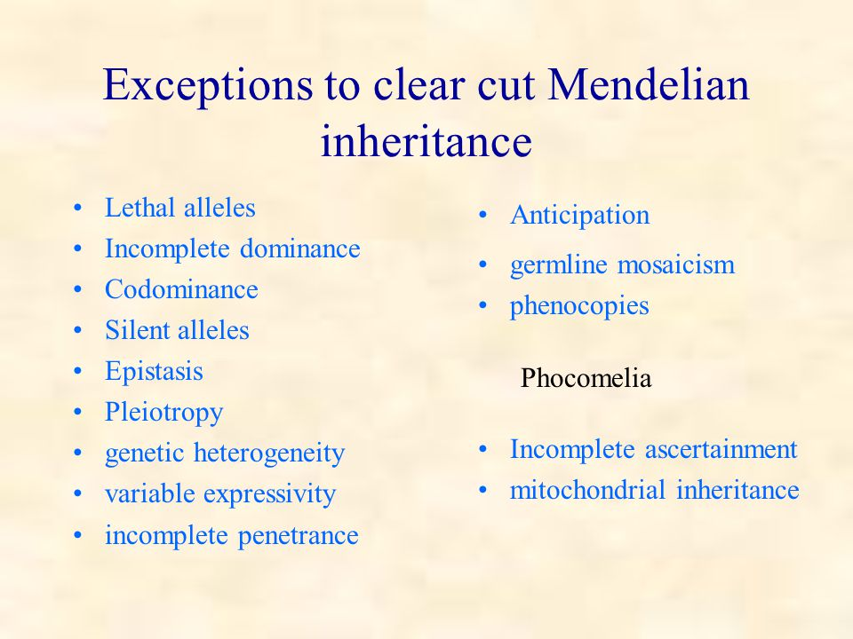 Exceptions to clear cut Mendelian inheritance Lethal alleles Incomplete dominance Codominance Silent alleles Epistasis Pleiotropy genetic heterogeneity variable expressivity incomplete penetrance Anticipation germline mosaicism phenocopies Phocomelia Incomplete ascertainment mitochondrial inheritance