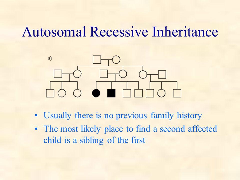 Autosomal recessive Inbreeding increases the chance of observing an autosomal recessive condition E.g.