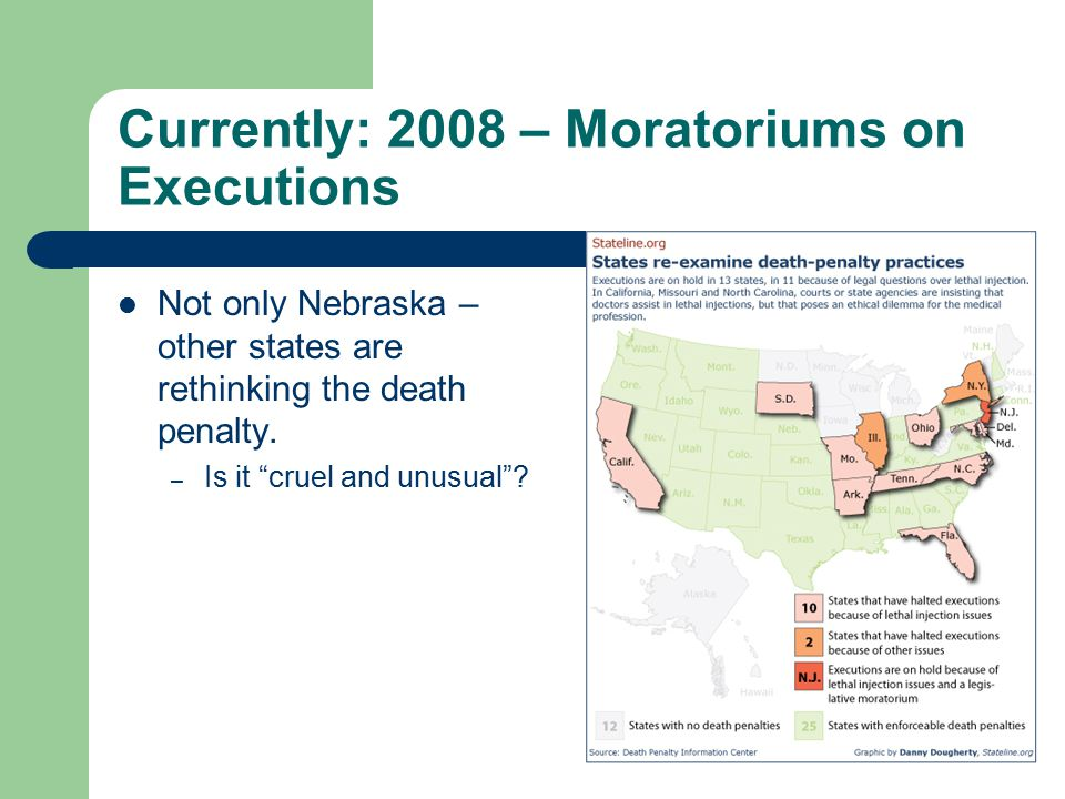 Currently: 2008 – Moratoriums on Executions Not only Nebraska – other states are rethinking the death penalty.
