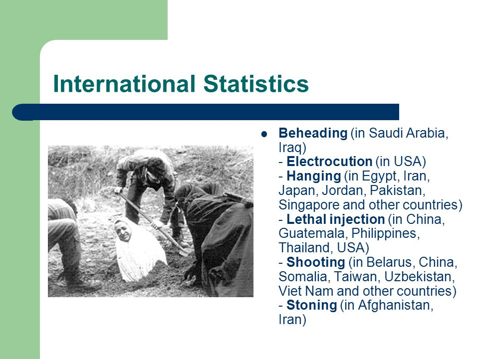 International Statistics Beheading (in Saudi Arabia, Iraq) - Electrocution (in USA) - Hanging (in Egypt, Iran, Japan, Jordan, Pakistan, Singapore and other countries) - Lethal injection (in China, Guatemala, Philippines, Thailand, USA) - Shooting (in Belarus, China, Somalia, Taiwan, Uzbekistan, Viet Nam and other countries) - Stoning (in Afghanistan, Iran)