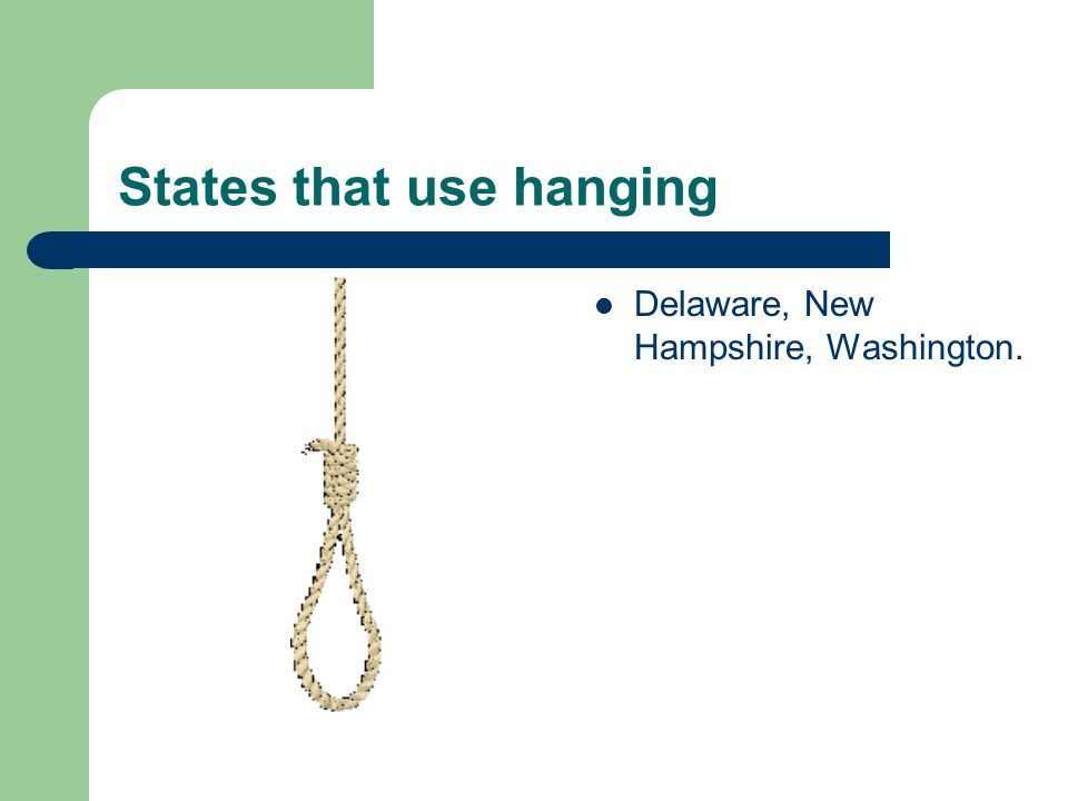 States that use hanging Delaware, New Hampshire, Washington.