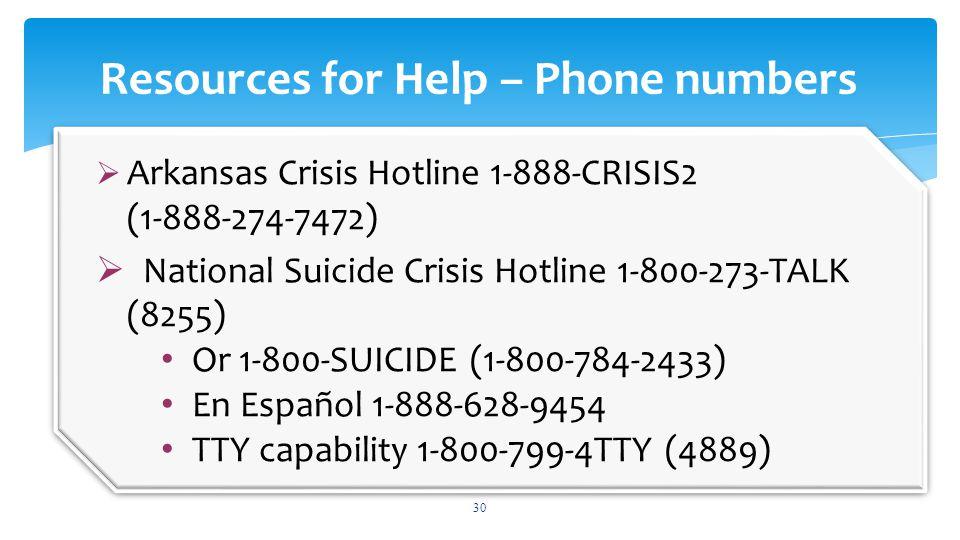 30 Resources for Help – Phone numbers  Arkansas Crisis Hotline 1-888-CRISIS2 (1-888-274-7472)  National Suicide Crisis Hotline 1-800-273-TALK (8255)