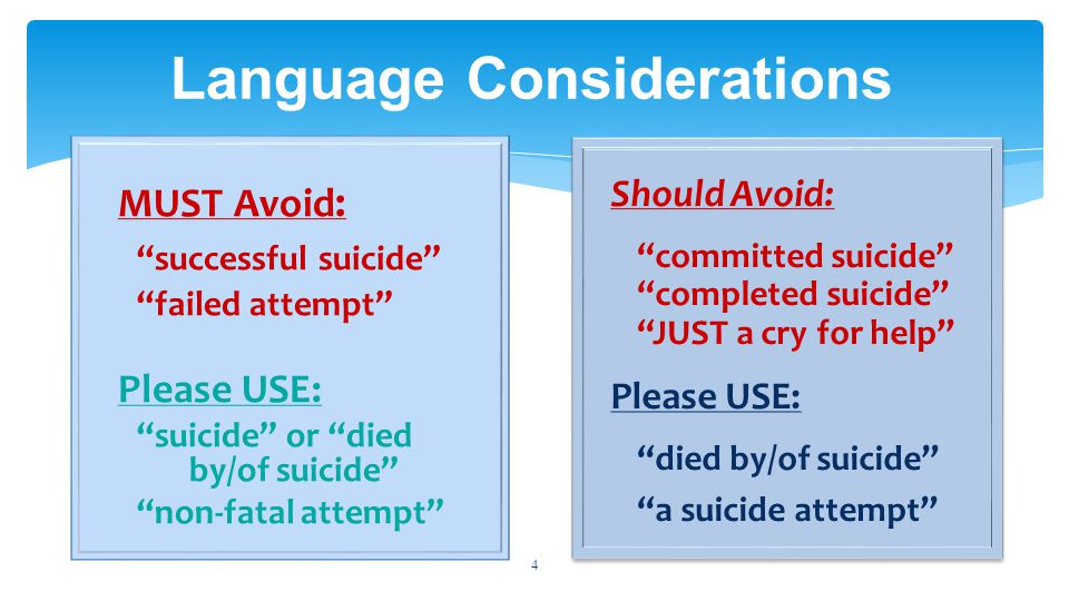 Language Considerations 4 MUST Avoid : successful suicide failed attempt Please USE: suicide or died by/of suicide non-fatal attempt Should Avoid: committed suicide completed suicide JUST a cry for help Please USE: died by/of suicide a suicide attempt Should Avoid: committed suicide completed suicide JUST a cry for help Please USE: died by/of suicide a suicide attempt