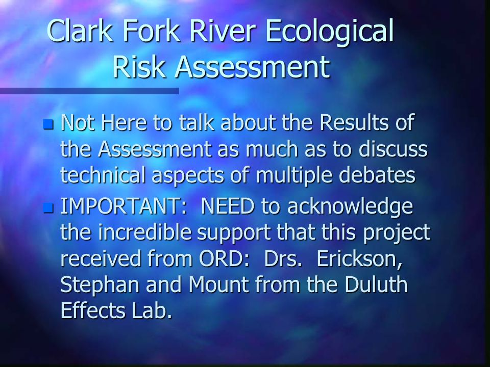 Technical Challenges in the Development of the Clark Fork River Ecological Risk Assessment Dale J.
