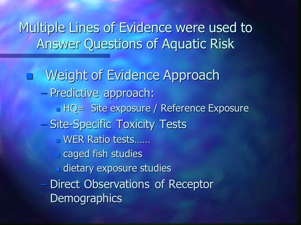 Clark Fork River Ecological Risk Assessment n Not Here to talk about the Results of the Assessment as much as to discuss technical aspects of multiple