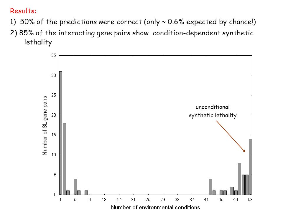 Results: 1) 50% of the predictions were correct (only ~ 0.6% expected by chance!) 2) 85% of the interacting gene pairs show condition-dependent synthetic lethality unconditional synthetic lethality
