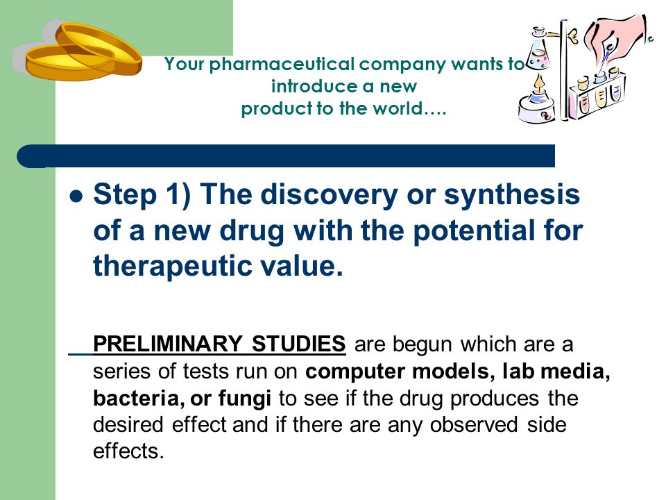 Step 1) The discovery or synthesis of a new drug with the potential for therapeutic value.