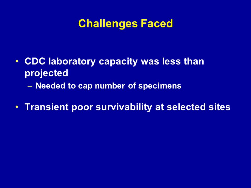 Challenges Faced CDC laboratory capacity was less than projected –Needed to cap number of specimens Transient poor survivability at selected sites
