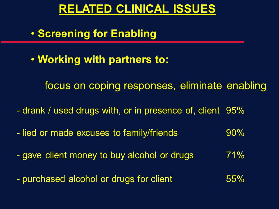 RELATED CLINICAL ISSUES Screening for Enabling Working with partners to: focus on coping responses, eliminate enabling - drank / used drugs with, or in presence of, client95% - lied or made excuses to family/friends90% - gave client money to buy alcohol or drugs71% - purchased alcohol or drugs for client55%
