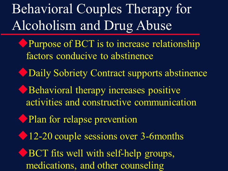 Maintenance and Relapse Prevention  Continuing Recovery Plan Specifies activities to do to maintain abstinence and relationship recovery after weekly couple sessions end