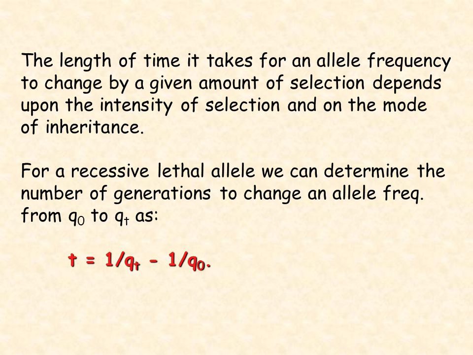 The length of time it takes for an allele frequency to change by a given amount of selection depends upon the intensity of selection and on the mode o